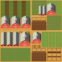 Luchtscène met schuren en gewassen vector
