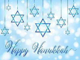 Gelukkige Haunko met jodensymbool op blauwe achtergrond