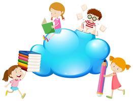 Grens sjabloon met kinderen lezen