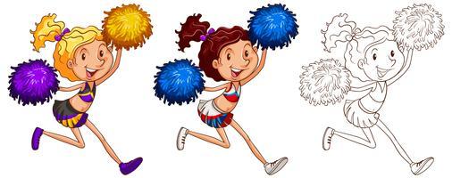 Doodle karakter voor meisje cheerleader vector