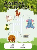 Kruiswoordpuzzel met veel dieren vector
