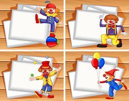 Grens sjabloon met grappige clowns vector