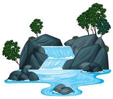 Scène met waterval en rivier die leeglopen
