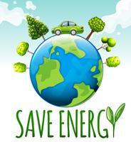 Bespaar energiethema met auto en bomen vector