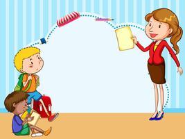Grens sjabloon met kinderen en leraar