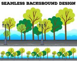 Naadloos ontwerp als achtergrond met bomen en lampen