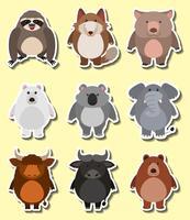 Stickerontwerp voor schattige dieren vector