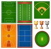 Verschillende sportvelden en trofee vector