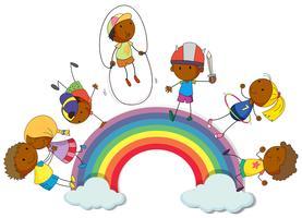 Jongens en meisjes op de regenboog vector