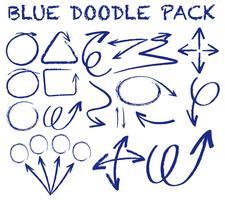 Verschillende doodle slagen in blauwe kleur