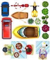 Topview van voertuigen, planten en mensen aan tafel