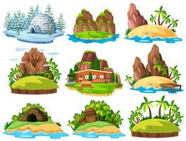 Verschillende gebouwen en dingen op eilanden