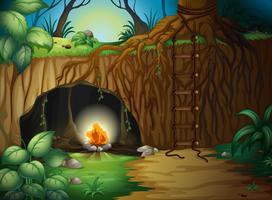 Een kampvuur in een grot