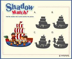 Spel sjabloon met schaduw overeenkomende schepen
