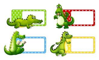 Polkadot-labels met krokodillen