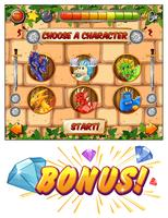 Computerspel sjabloon met draken als spel tekens