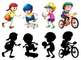 Kinderen doen verschillende sport set met silhouet