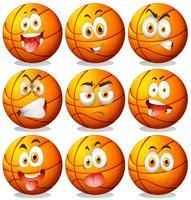 Basketbal met gezichtsuitdrukkingen vector