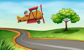 Een vliegtuig boven de bochtige weg