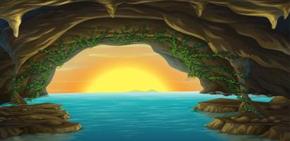 Een grot en een water vector