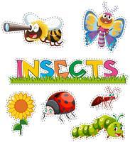 Veel insecten in stickerontwerp vector