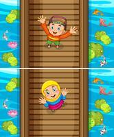 Twee scènes van moslimjongen en meisje op de brug