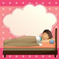 Een jongen die slaapt met een leeg callout-sjabloon vector