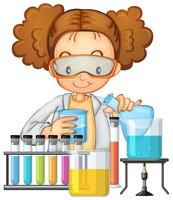 Een student in Science Lab-klasse
