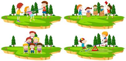 Kinderen spelen verschillende spellen in het park vector