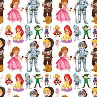 Naadloze sprookjesfiguren met prins en prinses vector