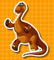 Bruine dinosaurus op gele achtergrond