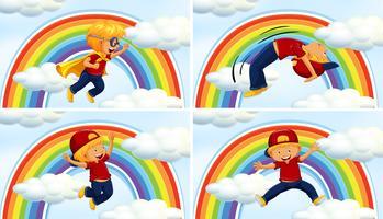 Jongens in verschillende acions op regenboogachtergrond