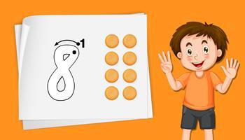 Jongen met nummer acht tracing werkbladen vector