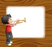 Een jongen die met zijn trombone voor een leeg malplaatje speelt vector