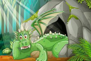 Draak die in de grot leeft
