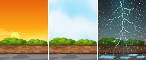 Drie achtergrondscènes in verschillende seizoenen