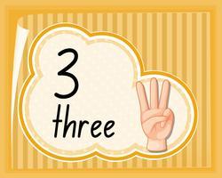 Nummer drie handgebaar vector