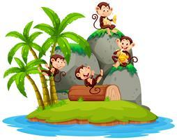 Gelukkige aap op geïsoleerd eiland