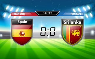 Een scorebord Spanje VS Srilanka