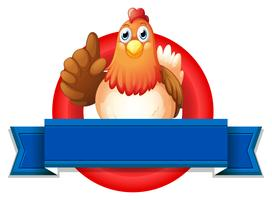 Een lege sjabloon met een kip vector