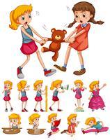 Meisjes in verschillende activiteiten vector