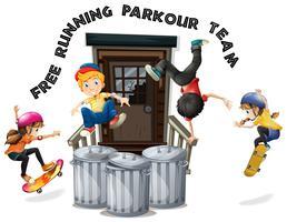 Gelukkige kinderen doen gratis hardlopen