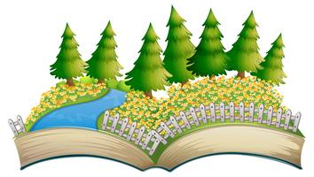 Open boek bloem veld thema
