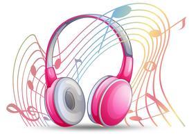 Roze hoofdtelefoon met musicnotes op achtergrond vector