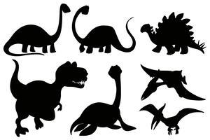 Silhouetdinosaurussen op witte achtergrond vector