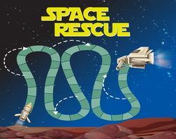 Spelmalplaatje met ruimteachtergrond