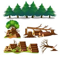Een set houten elementen vector