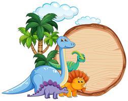 Veel dinosaurus op houten banner vector