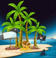Een pirateneiland met een leeg uithangbord vector