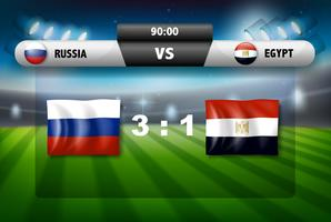 Rusland versus Egypte scorebord